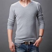 Осенне-зимний свитер мужской, однотонный Повседневный пуловер с v-образным вырезом, мужские хлопковые свитера, Pull Homme