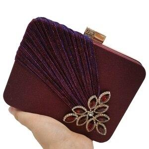Image 4 - Boutique De FGG Wine Red Crystals Appliques Women Metal Box Clutch Evening Purses and Handbags Bridal Wedding Party Bag