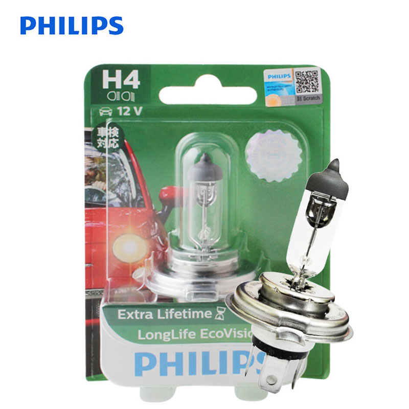 Philips LongLife Eco Vision <font><b>H4</b></font> 9003 12V <font><b>60</b></font>/<font><b>55W</b></font> P43t 12342LLECOB1 Car Halogen Head Light <font><b>Lamp</b></font> Auto Bulb High Low Beam,1X image
