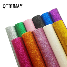QIBUMAY 22*30cm Glitter Leather Fabric Faux Sheet Sequin DIY Hairbow Decoration Handmade Bags Material Synthetic