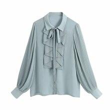 Women Cascading Ruffle Chiffon Shirt Casual Femme Pressed Pleat Lantern Sleeve Blouse Lady Loose Tops Blusas S8158