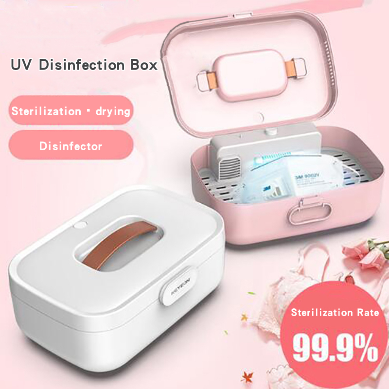 <font><b>UV</b></font> Sterilizer <font><b>Box</b></font> Cabinet Lamp Drying High Temperature Disinfection for Disposable Mask Glasses Earphone Phone Baby image