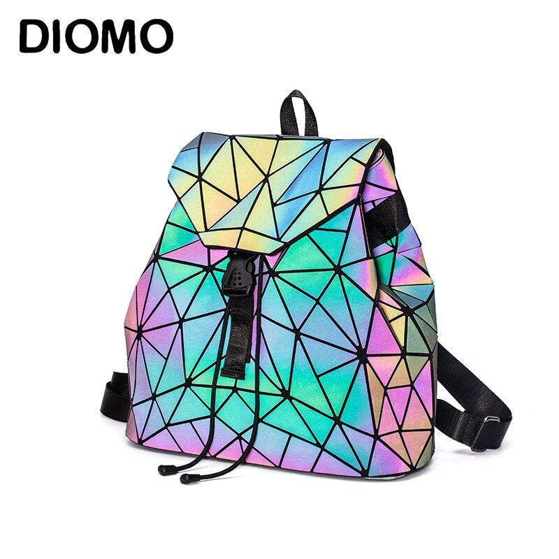 font b Women b font font b Backpack b font Luminous Geometric Plaid Sequin Female