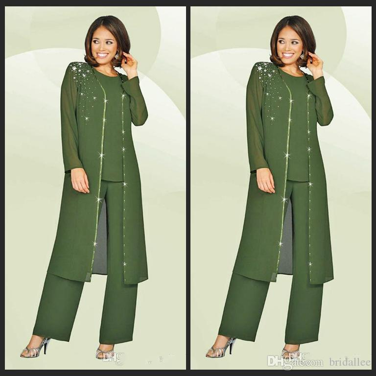 Glamorous Three-Piece Chiffon Mother Of The Bride Pant Suits With Jacket/Beading/Crystals And Crew Neckline Custom Made