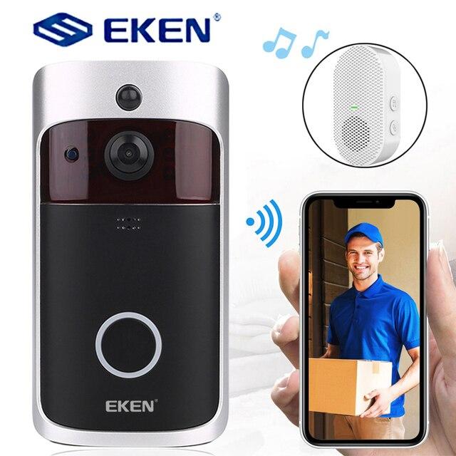 EKEN visiophone intelligent V5 wi fi IP, interphone vidéo intelligent sans fil, caméra de sécurité IR et alarme, interphone vidéo pour porte dappartement