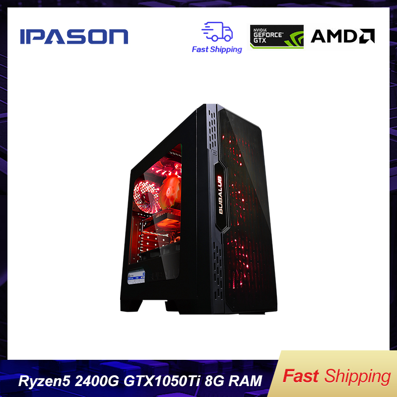 IPASON A5 Gaming PC AMD Ryzen5 2400G DDR4 4G 8G RAM 120G+1T SSD/gaming Card 1050TI Desktop Computer