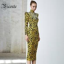 VC Free Shipping 2020 New Chic Leopard Dress Long Sleeves Stand Collar Elegant Celebrity Party Club Velvet Dress Midi Dress