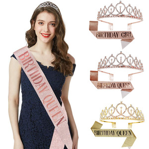 Happy Birthday Crown Rose Gold Satin Sash Crown Birthday Party Decorations Adult 18 21 30 40 50 Anniversary Party Supplies