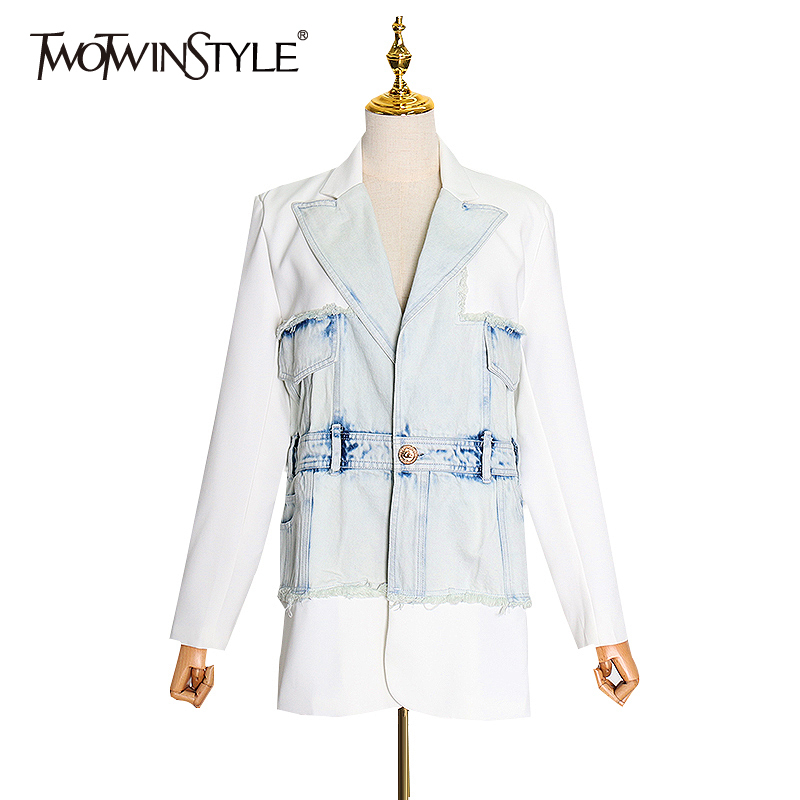TWOTWINSTYLE Patchwork Denim Hit Color Blazer For Women Notched Long Sleeve Streetwear Suit Female 2020 Spring Fashion Clothing