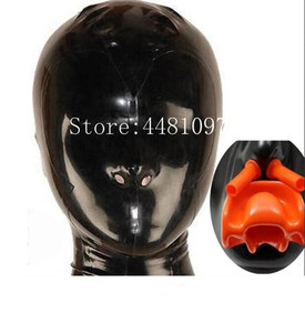 sexy exotic lingerie Latex Hood with Red Teeth Gag and Nasal Tubes Back Zipper Rubber Fetish Mask uniform XS-XXL(China)