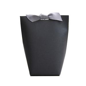 Image 5 - 50 개/몫 새로운 흑백 베개 상자 Merci 리본 활 현재 카톤 파우치 크래프트 상자 선물 DIY 상자 웨딩 파티 공급