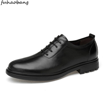 men leather shoes business dress genuine leather shoes comfortable lace up Gentleman's formal wedding shoes men big size 47