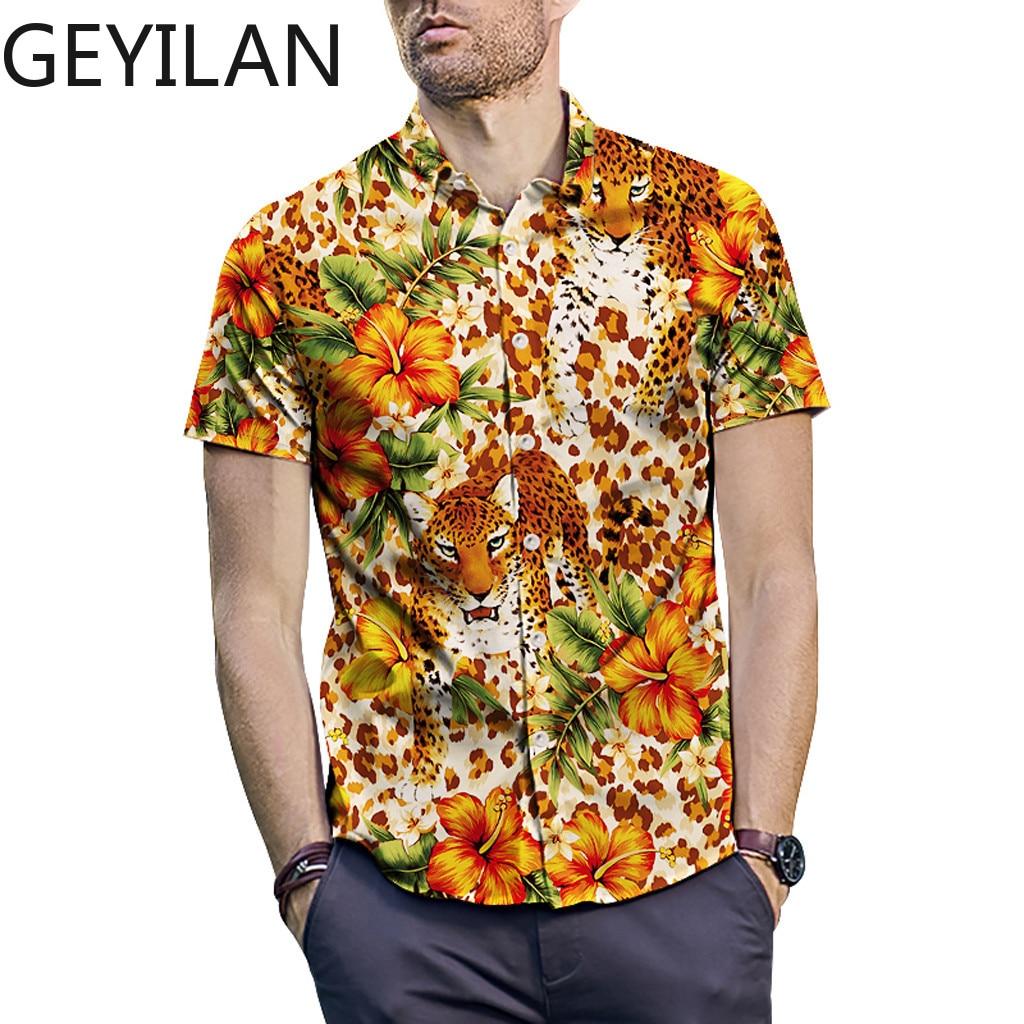 M-2XL Mens Shirt  New Summer  Short Sleeve Floral Shirt Fashion Mens Clothing  Casual Flower Slim Fit Shirts Apr4