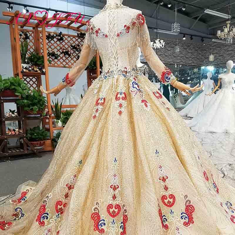 Image 2 - AXJFU роскошное платье принцессы с бусинами и красным цветком, Золотое кружевное платье с высоким воротом и длинным рукавом, свадебное платье для невесты 4041Свадебные платья    АлиЭкспресс