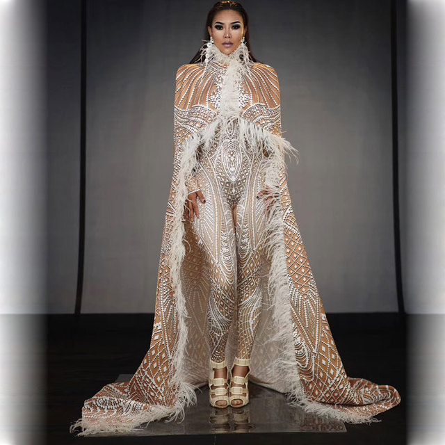 Drag queen Singer Stage Wear 3D Printing Stretch Leotard Jumpsuit Feather Cloak Outfit Birthday Dancer Models Catwalk Costume