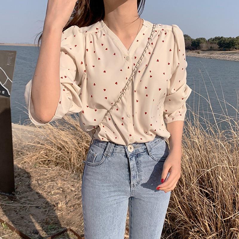 Fashion V-neck Blouse Shirt Love Print Shirt Long Sleeve Loose Petal Shirt Blouse