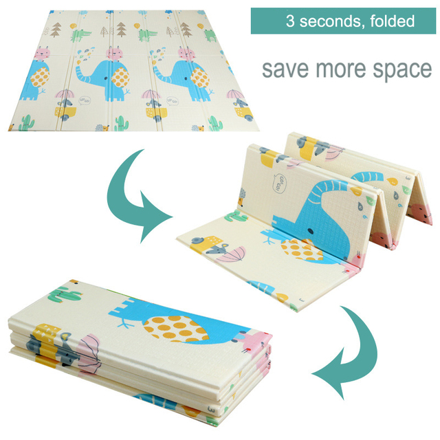 XPE Mat 1CM Thickness Cartoon Pad Kid Play Mat Foldable Anti-skid Carpet Children Game Mat 180X200CM