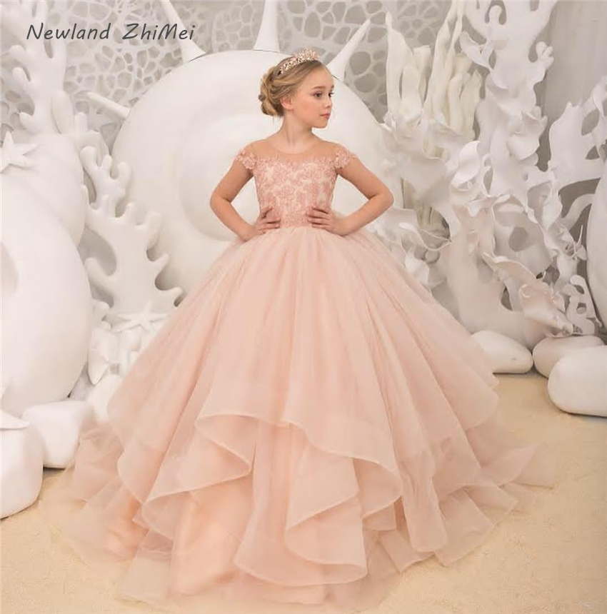 New Arrival Incarnadine Pink Ball Gown Flower Girl Party Dress Lovely Short Sleeves Applique Tulle Communion Dress Kids Wedding