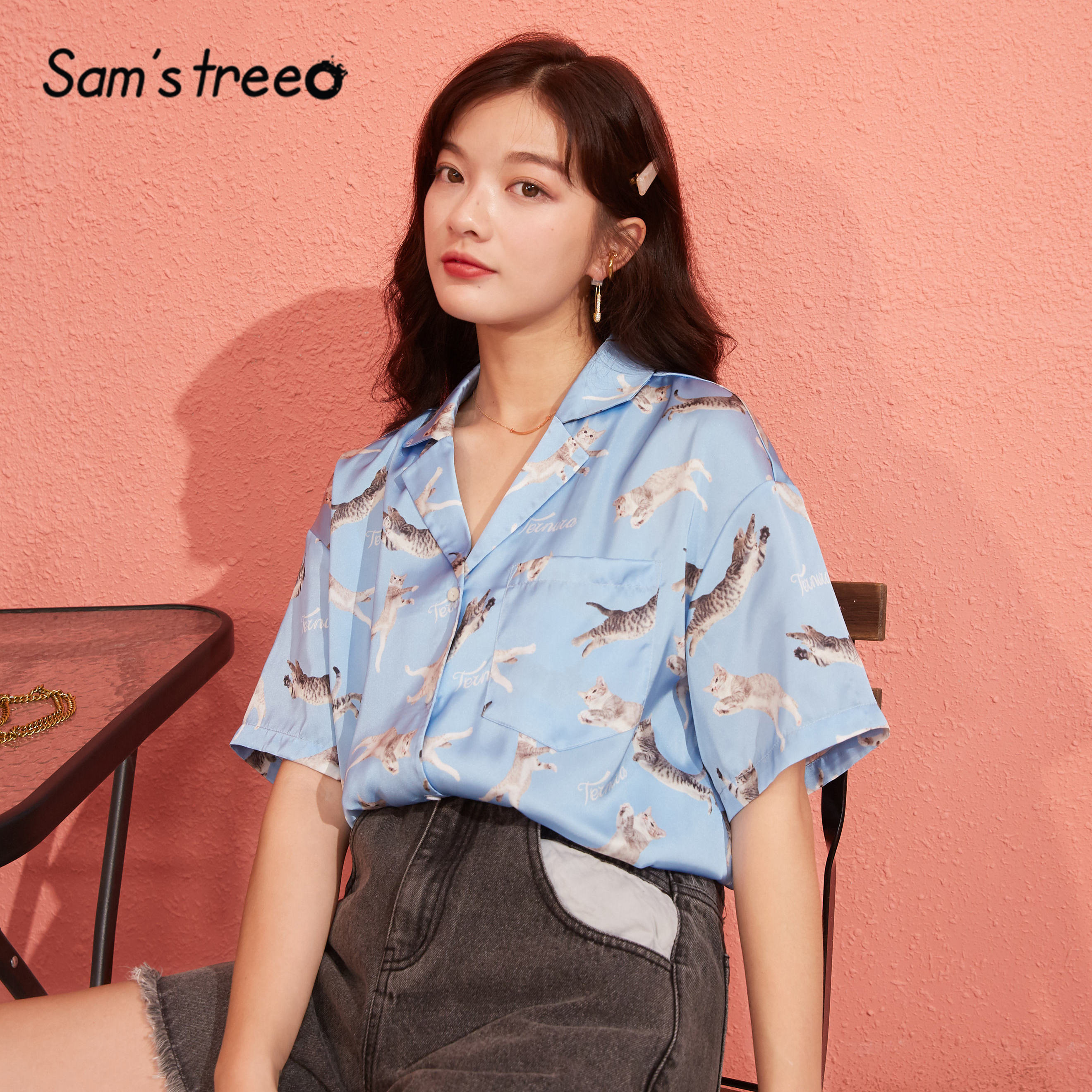 SAM'S TREE Blue Cat Print Single Breasted Casual Satin Women Shirts 2020 Spring New Vintage Half Sleeve Cute Ladies Daily Tops