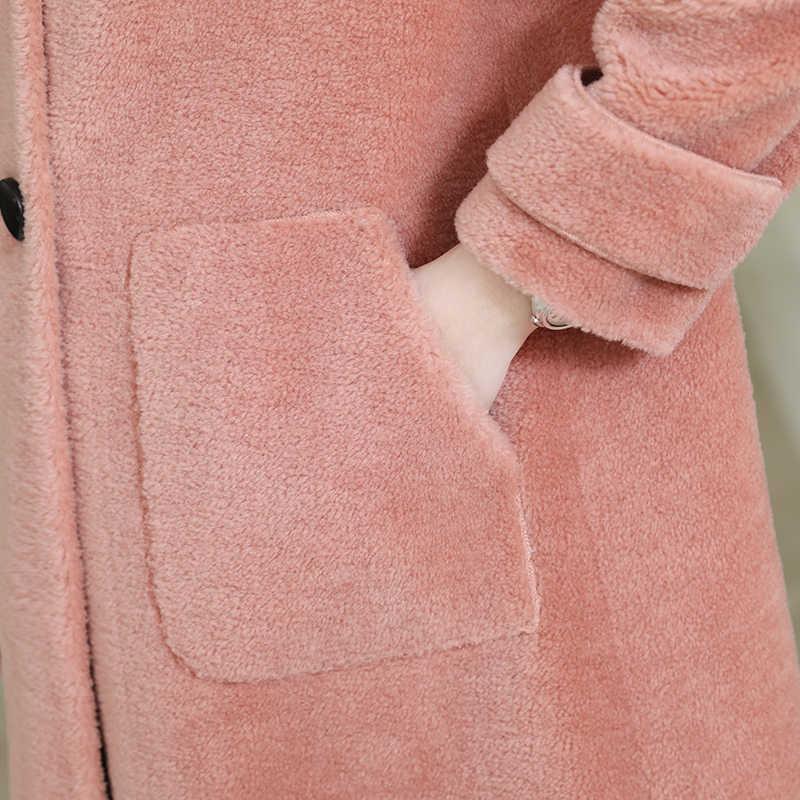 אמיתי פרווה מעיל חורף מעיל נשים מינק פרווה צווארון כבשים Shearling פרווה צמר מעיל נשי קוריאני ורוד מעיל AD-OG880 MY1930