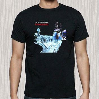 NEW RADIOHEAD OK COMPUTER ALBUM COVER LOGO MEN'S BLACK T-SHIRT SIZE S TO 3XL Tee Shirts Men O-Neck Tees