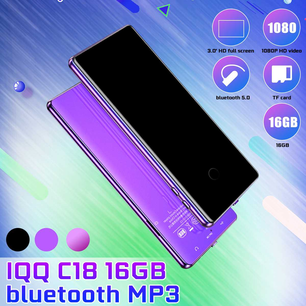 IQQ C18 16G Music MP3 Player Bluetooth 5.0 1080P HD Video HIFI Lossless Support FM E-Book Music Player Walkman English Version
