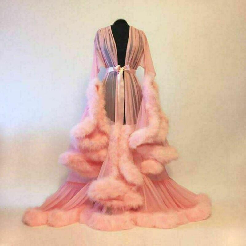 Fashion Women Lace Lingerie Sheer Robe Kimono Full Sleeve Night Dress Gown Mesh Fur Babydolls Nightwear Robes
