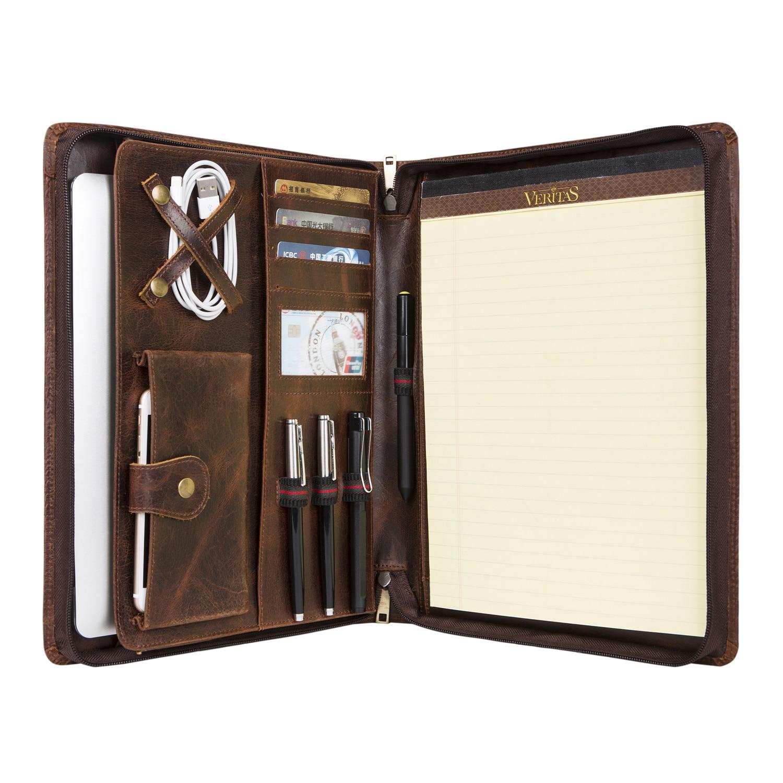 Dossier A4 fait main en cuir ciré à l'huile Vintage, organisateur de étui de portefeuille d'affaires pour droitiers ou gauchers