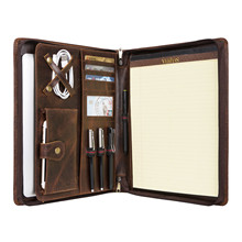 Handmade Vintage Oil Waxed Leather Portfolio A4 Folder, Business Padfolio Case Organizer for Right- or Left-Handed