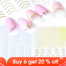 1pcs Nail Sticker Gold Silver Metal Curve Strip Lines Adhesive Striping Tape Multi size 3D Stickers For Manicure JISTZ G001 013