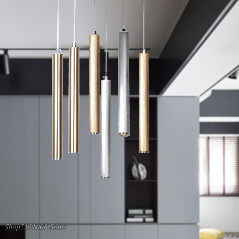 Modern Led Pendant Lamp Art Decor Aluminum Long Tube Pendant Light Dining Room Bar Kitchen Hanging Lamp Home Lighting Fixtures