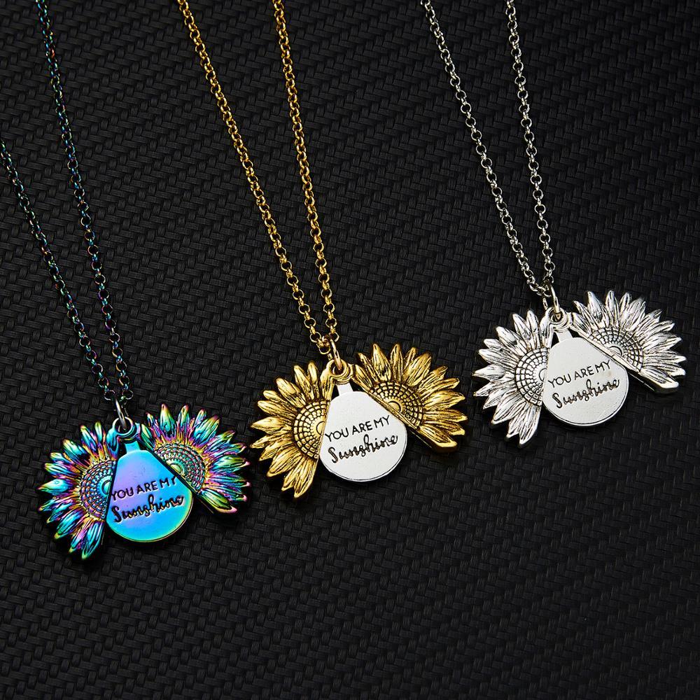 2020 novo você é o meu sol colar liga aberto medalhão girassol colares ouro colorido pingente colar feminino presente