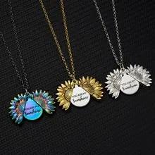 Gift for Mom Mummy You Are My Sunshine Open Locket Sunflower Pendant Necklace UK