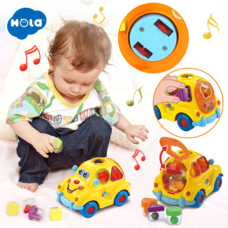 HOLA 516 Baby Toys Electronic Car With Music & Light & Puzzle & Fruit Shape Sorters Learning Educational Toys For Children