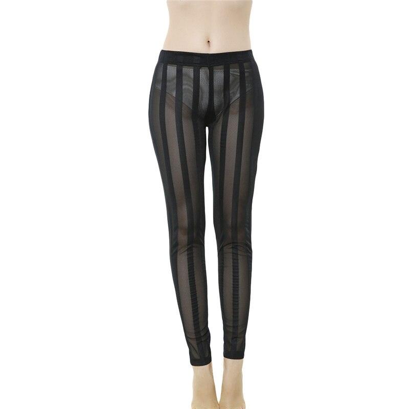 High Qualtiy Push Up Leggings Women High Waist Legging Explosion Models Sexy Vertical Stripes Perspective Mesh Leggings