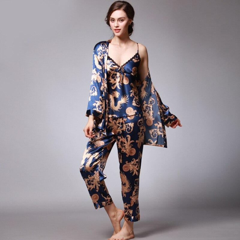 3 Piece Set Pijamas Women Sexy Satin Lingerie Set Sleepwear  Pajamas For Women Night Underwear Plus Size Lounge Set Summer