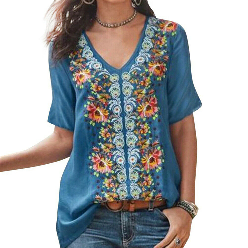 New Boho Women Vintage Blouses Sexy V Neck Floral Loose Fits Shirts Top Women Short Sleeve Top Blouses 2019 Pullover Plus Size