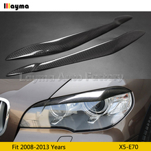 Carbon Fiber Car Eyebrows For BMW X5 35i 50i xDrive E70 2008 2009 2010 2011 2012 2013 year car lamp eyelid front eyebrow fender flare wheel extension arches for bmw x5 e70 2009 2010 2011 2012 2013