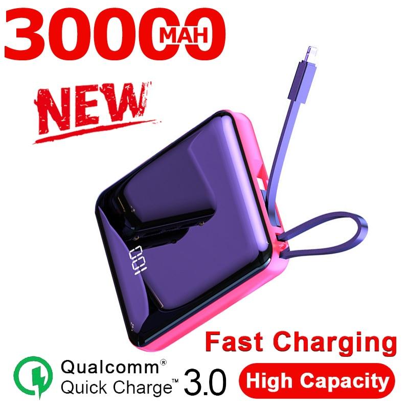 Внешний мини-аккумулятор на 30000 мА · ч с ЖК-дисплеем и встроенными кабелями