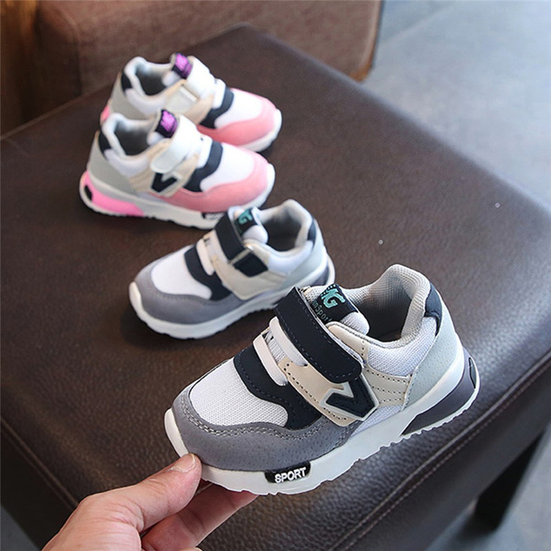 Spring Autumn Children Casual Mesh Sport Shoes Baby Boys Girls Soft Sneakers Kids Hook Child Soft Letter Running Shoes Kids