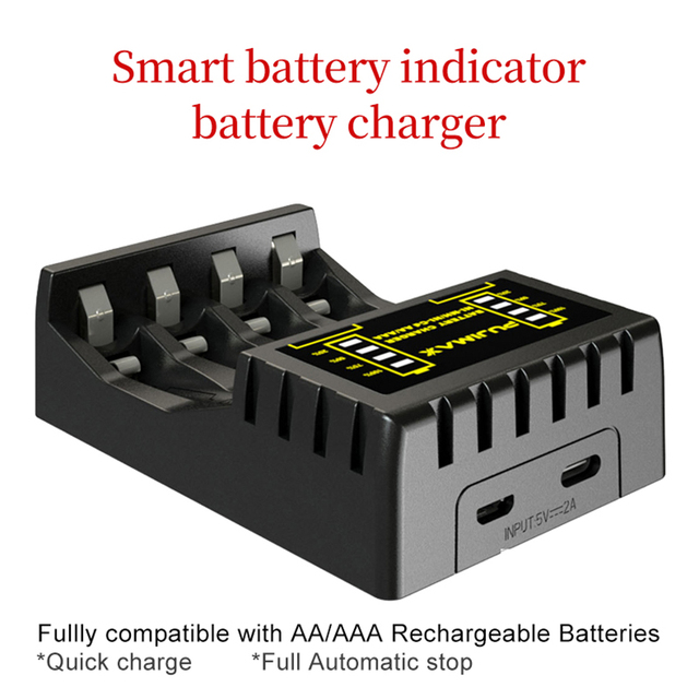 PUJIMAX 4 Slots Electric Battery Charger Intelligent Fast LED Indicator USB Charger For AA/AAA Ni-MH/Ni-Cd Rechargeable Battery 2