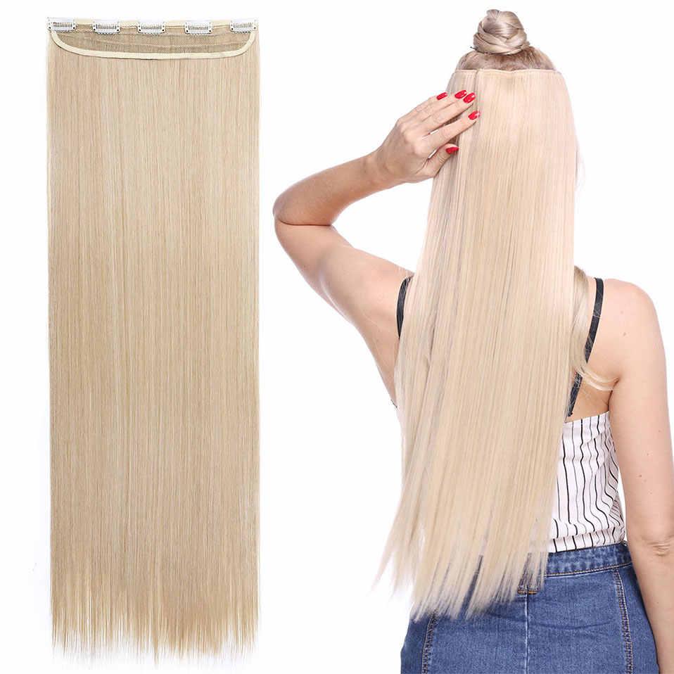 Snoilite Herbst zu taille Lange gerade Clip in Einem Stück Haar Verlängerung Ein Stück Echte Natürliche haar Synthetische clip Erweiterung haar