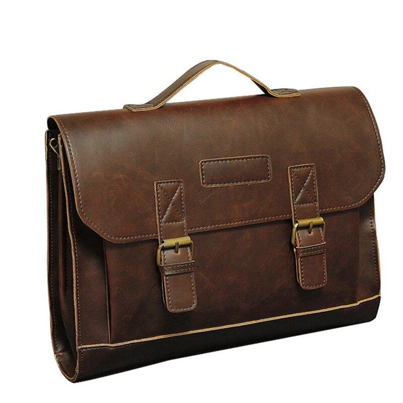 Crazy Horse PU Leather Men Briefcase Famous Dress Travel Bag