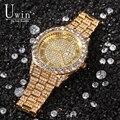 Uwin большой циферблат Полный Iced Out мужские часы нержавеющая сталь модные роскошные стразы кварцевые наручные часы бизнес часы