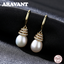 Unique Design 925 Sterling Silver Zircon Freshwater Pearl Drop Earrings For Women Fashion Jewelry Christmas Gifts unique punk design pearl green zircon beads jewelry set 925 sterling silver pendant earrings ring bracelet fine charm jewelry