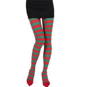 Image 3 - נשים פס הדפסת ארוך צינור הברך גרבי תחפושת מסיבת מצחיק להתלבש אבזרי תחתונים ליל כל הקדושים חג המולד COS גרביונים גרב