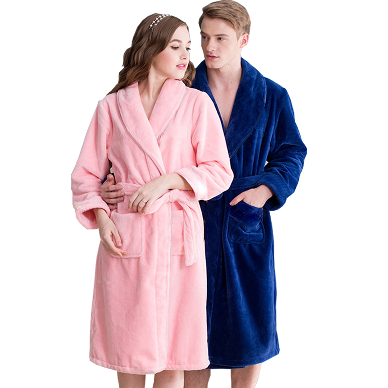 On Sale Men's Classic Kimono Bath Robe Silk Flannel Long Bathrobe Men Winter Warm Robes Male Dressing Gown Mens Lounge Bathrobes