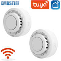 Tuya-Sensor de humo con alarma para el hogar, Detector de humo con WiFi, sistema de seguridad para el hogar