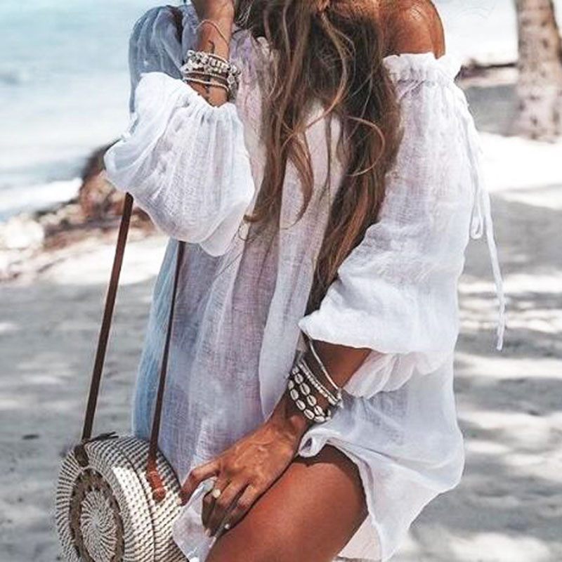 2019 Summer Women Beach Wear Cover-ups White Cotton Tunic Bikini Wrap Skirt Swimsuit Cover Up Bath Dress Sarong plage pareo
