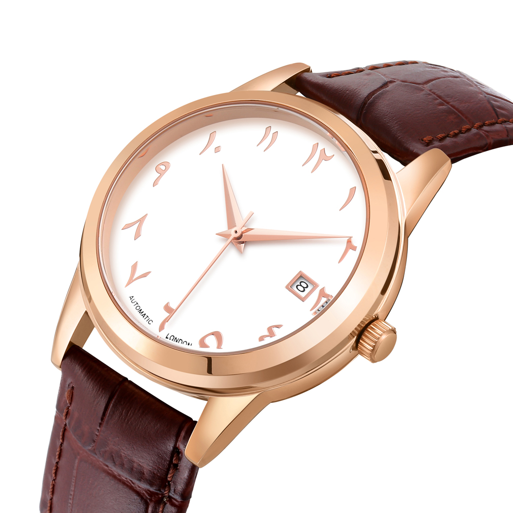 Automatic Self-Wind Arabic Numbers Watch Arabian Clocks Muslim Watches Auto Movement